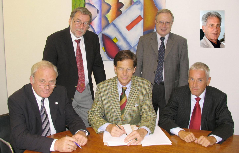 15. September 2005 | Von links: die Herren Hesselbach, Varchmin, Hens, Büttgenbach und Behrbohm (kleines Bild der 2. Geschäftsführer Dr. Bernd Albrecht)